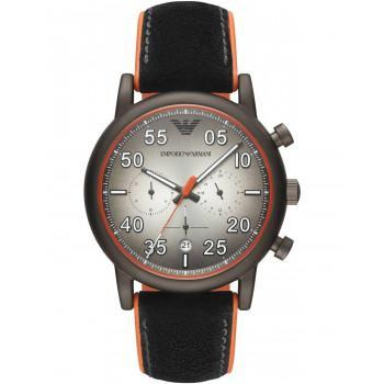 EMPORIO ARMANI Luigi Chronograph Mens - AR11174,  Grey case with Black Leather & Rubber  Strap