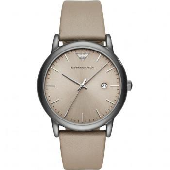 EMPORIO ARMANI Men's - AR11116,  Silver Gold case with Grey Leather Strap