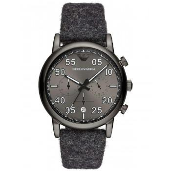Emporio ARMANI Mens Chronograph - AR11154, Black case with GreyFabric-Leather Strap