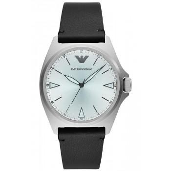 EMPORIO ARMANI Renato - AR11308  Silver case with Black Leather Strap