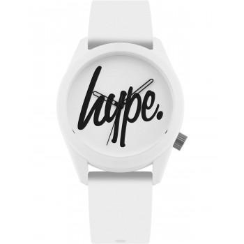 HYPE Unisex - HYU001W,  White case with White Rubber Strap