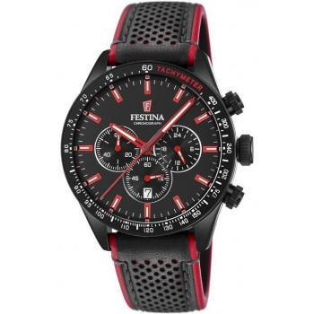 FESTINA Chronograph Men's - F20359/4,  Black case with Black Leather Strap