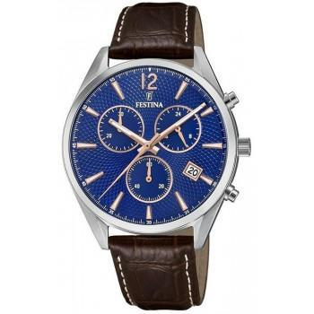 FESTINA Chronograph Men's - F6860/6,  Silver case with Brown Leather Strap