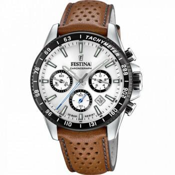 FESTINA Chronograph Sport Men's - F20561/1,  Silver case with Brown Leather Strap