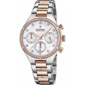 FESTINA Crystals Ladies Chronograph Gift Set   - F20403/1 , Silver case with Stainless Steel Bracelet