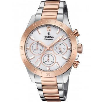 FESTINA Diamond Chronograph - F20398/1 , Silver case with Stainless Steel Bracelet