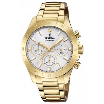 FESTINA Ladies Chronograph Gift Set  - F20400/1 , Gold case with Stainless Steel Bracelet