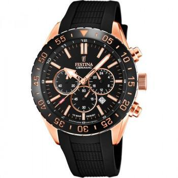 FESTINA Mens Chronograph - F20516/2 Rose Gold case, with Black Rubber Strap