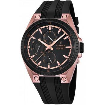 FESTINA Mens Multi - F16836/1 Rose Gold case, with Black Rubber Strap