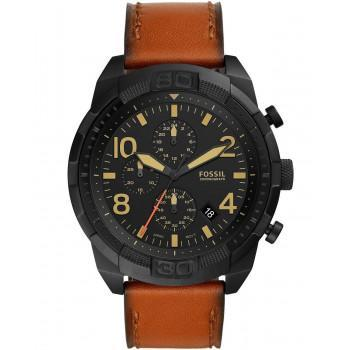 Fossil Bronson Chronograph - FS5714, Black case with Brown Leather Strap