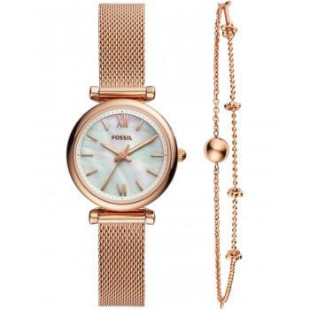 FOSSIL Carlie  Gift Set - ES4443,  Rose Gold case with Stainless Steel Bracelet