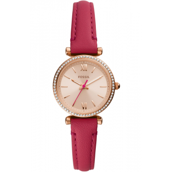 FOSSIL Carlie Mini Crystals - ES5006,  Rose Gold case with Pink Leather Strap