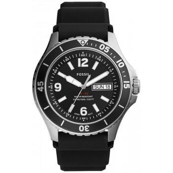 Fossil FB-02 Mens - FS5689, Silver case with Black Rubber Strap