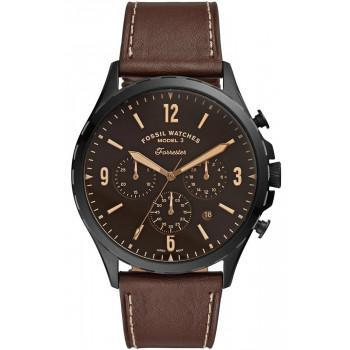 Fossil Forrester Chronograph - FS5608,  Black case with Brown Leather Strap