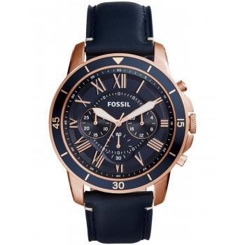 Fossil Grant Sport Chronograph - FS5237, Rose Gold case with Blue Leather Strap