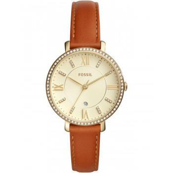 FOSSIL Jacqueline Ladies - ES4293,  Gold case with Brown Leather Strap