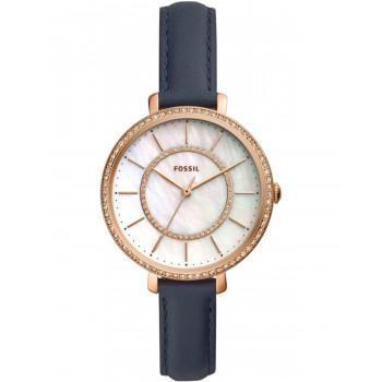 FOSSIL Jocelyn Crystals - ES4456,  Rose Gold case with Blue Leather Strap