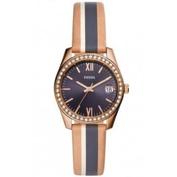 FOSSIL Scarlette Crystals - ES4594,  Rose Gold case with Multicolor Leather Strap