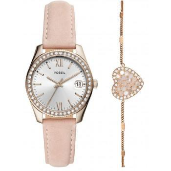 Fossil Scarlette Crystals Gift Set - ES4607,  Rose Gold case with Pink Leather Strap