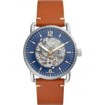 Fossil The Commuter  Automatic - ME3159, Silver case with Brown Leather Strap