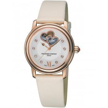 FREDERIQUE CONSTANT Double Heart - FC-310DHB2P4, Rose Gold case with White Leather Strap