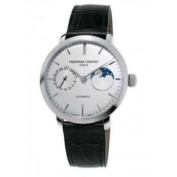 FREDERIQUE CONSTANT Manufacture Slimline Moonphase  - FC-702S3S6  Silver case with Black Leather Strap