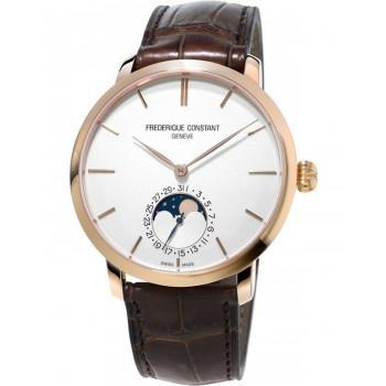 FREDERIQUE CONSTANT Slimline Moonphase - FC-705V4S4, Rose Gold case with Brown Leather Strap