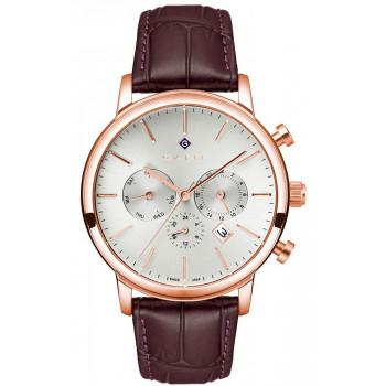 GANT Cleveland - G132011,  Rose Gold case with Brown Leather Strap