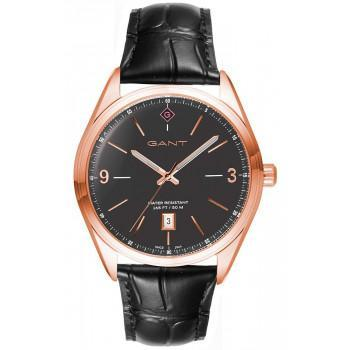GANT Crestwood - G141006,  Rose Gold case with Black Leather Strap