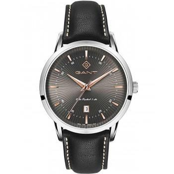 GANT Houston - G107002,  Silver case with Black Leather Strap