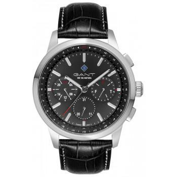 GANT Middletown - G154001,  Silver case with Black Leather Strap