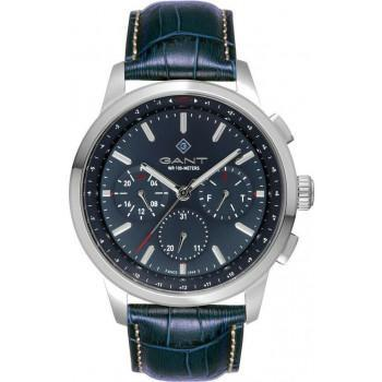 GANT Middletown - G154003,  Silver case with Blue Leather Strap