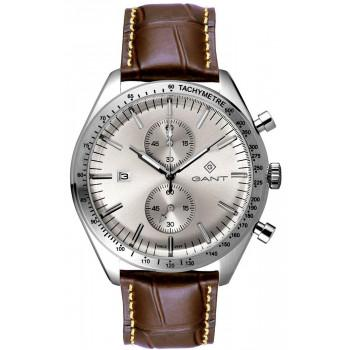 GANT Northampton Chronograph - G142001,  Silver case with Brown Leather Strap