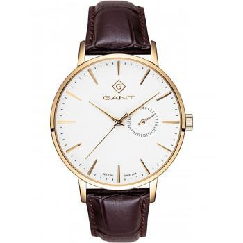 GANT Park Hill III - G105006,  Gold case with Brown Leather Strap
