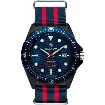GANT Recycled Ocean Plastic - G162001,  Black case with Blue Fabric Strap