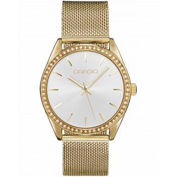 GREGIO Bianca Crystals - GR250020, Gold case with Stainless Steel Bracelet