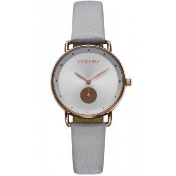 GREGIO Chrystie - GR140080  Rose Gold case with Grey Leather Strap