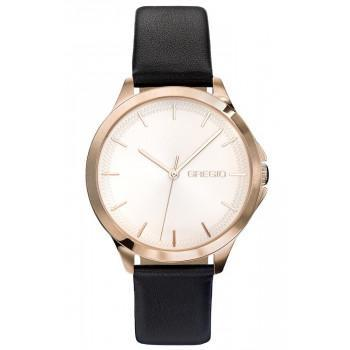 GREGIO Rosebery  - GR150081  Rose Gold case with Black Leather Strap