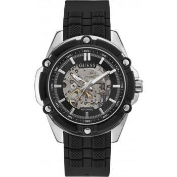 GUESS Automatic Mens - GW0061G1,  Silver case with Black Rubber Strap