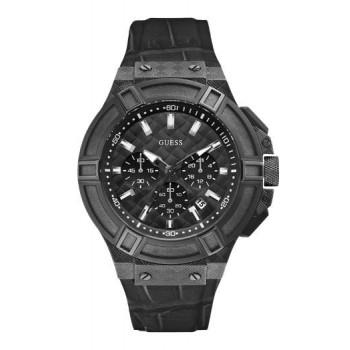 GUESS Chronοgraph - W0408G1 Black case, with Black Leather Strap