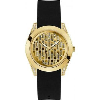 GUESS Clarity - GW0109L1,  Gold case with Black Rubber Strap