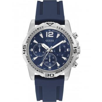 GUESS Commander Mens - GW0211G1,  Silver case with Blue Rubber Strap