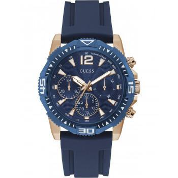 GUESS Commander Mens - GW0211G4,  Rose Gold case with Blue Rubber Strap
