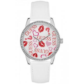 GUESS Crystals Ladies  - W1206L1,  Silver case with White Leather Strap