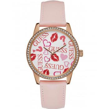 GUESS Crystals Ladies  - W1206L3,  Rose Gold case with Rose Gold Leather Strap