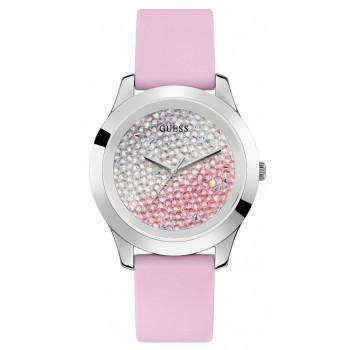GUESS Crystals Ladies  - W1223L1,  Silver case with Pink Rubber Strap