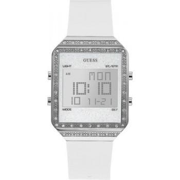 GUESS Digital Crystals Ladies  - W1224L1,  Silver case with White Rubber Strap