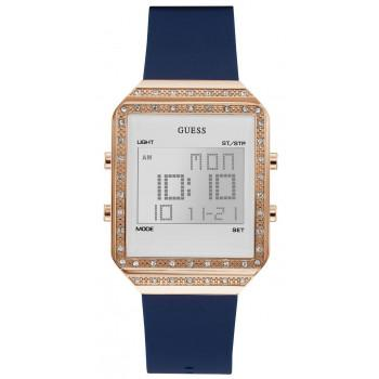 GUESS Digital Crystals Ladies  - W1224L3,  Rose Gold case with Blue Rubber Strap