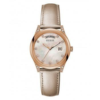 GUESS Ladies  Crystals - GW0117L1,  Rose Gold case with Beige Leather Strap