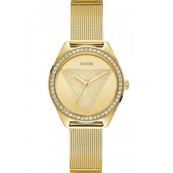 GUESS Ladies Crystals - W1142L2 , Gold case with Stainless Steel Bracelet